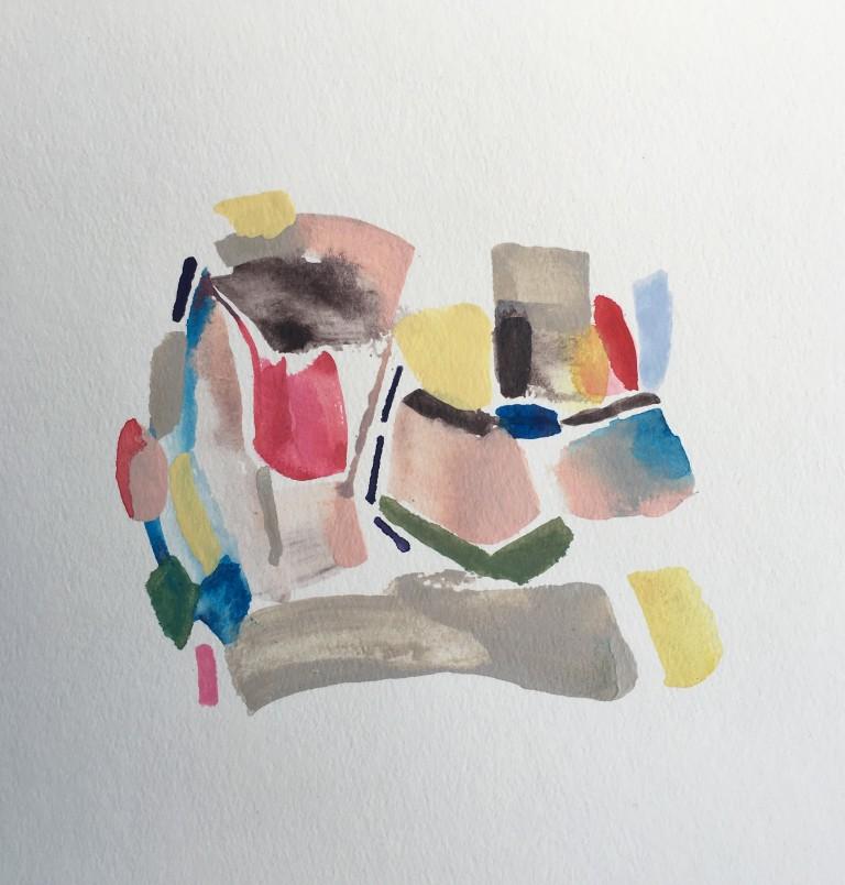 Elevator, 2016, acrylic on paper, 9x9%22